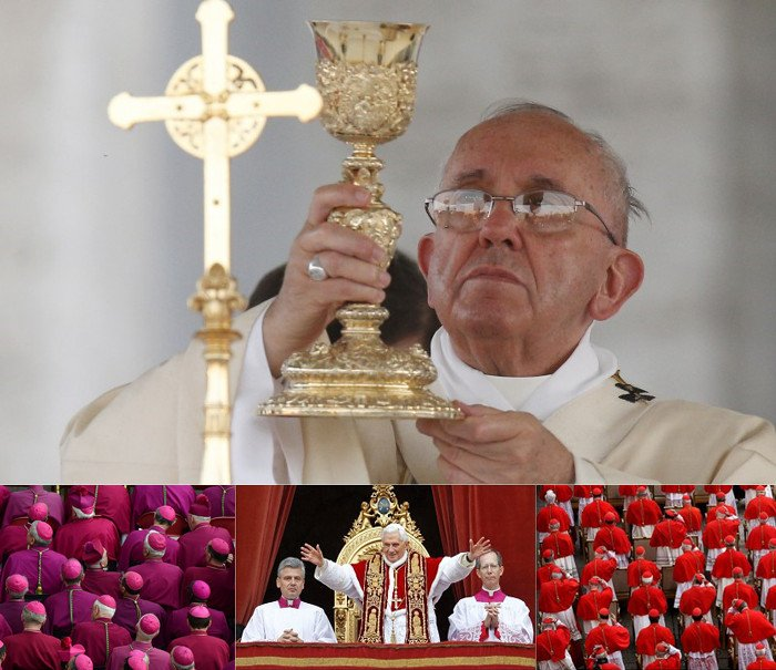 The pope's golden chalice, colors of the cardinals and bishops